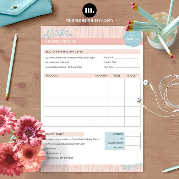 Invoice   Receipt Form - Photoshop Template for Photographers - payment receipt templates