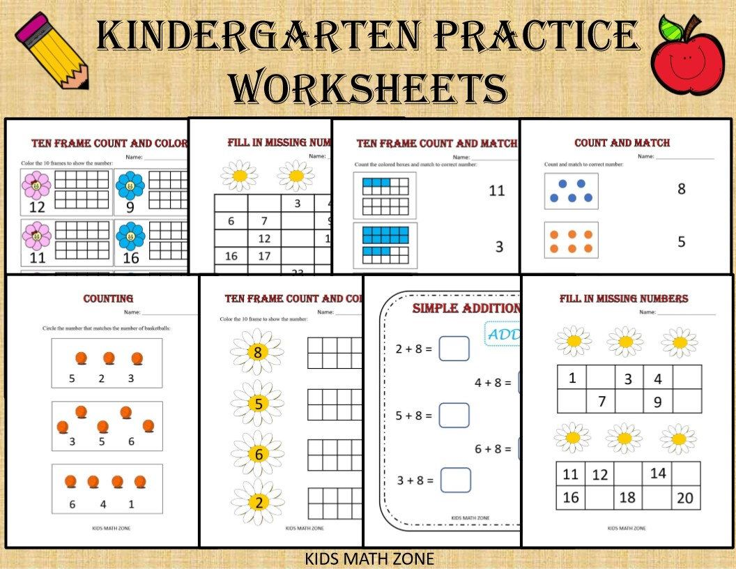 Kindergarten Practice Worksheets