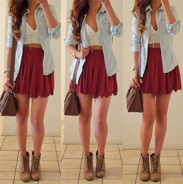 grey crop top, short jean shorts, white lace fringe kimono, gold ...