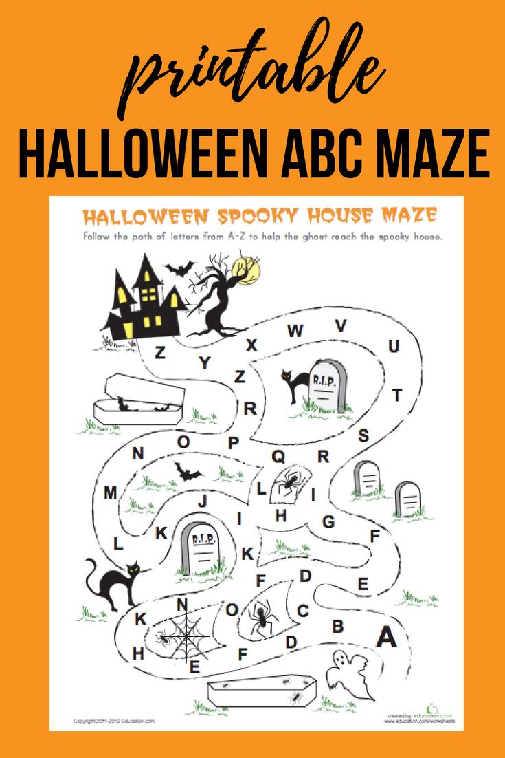 Download This Free Halloween Abc Maze For Your Kindergartener Printable Reading Literacy Hallow Halloween Maze Halloween Kindergarten Halloween Literacy [ 1102 x 735 Pixel ]