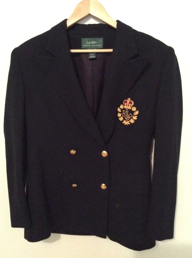 Ralph Lauren Women S Blazer Navy Size 6 Made In Usa 100