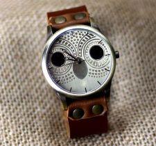 Koza čierna koža Náramok hodinky roztomilý sova hodiniek ženských Náramkové hodinky vinobranie štýl, pánske hodinky, najlepsi Vianočný darček B. ..