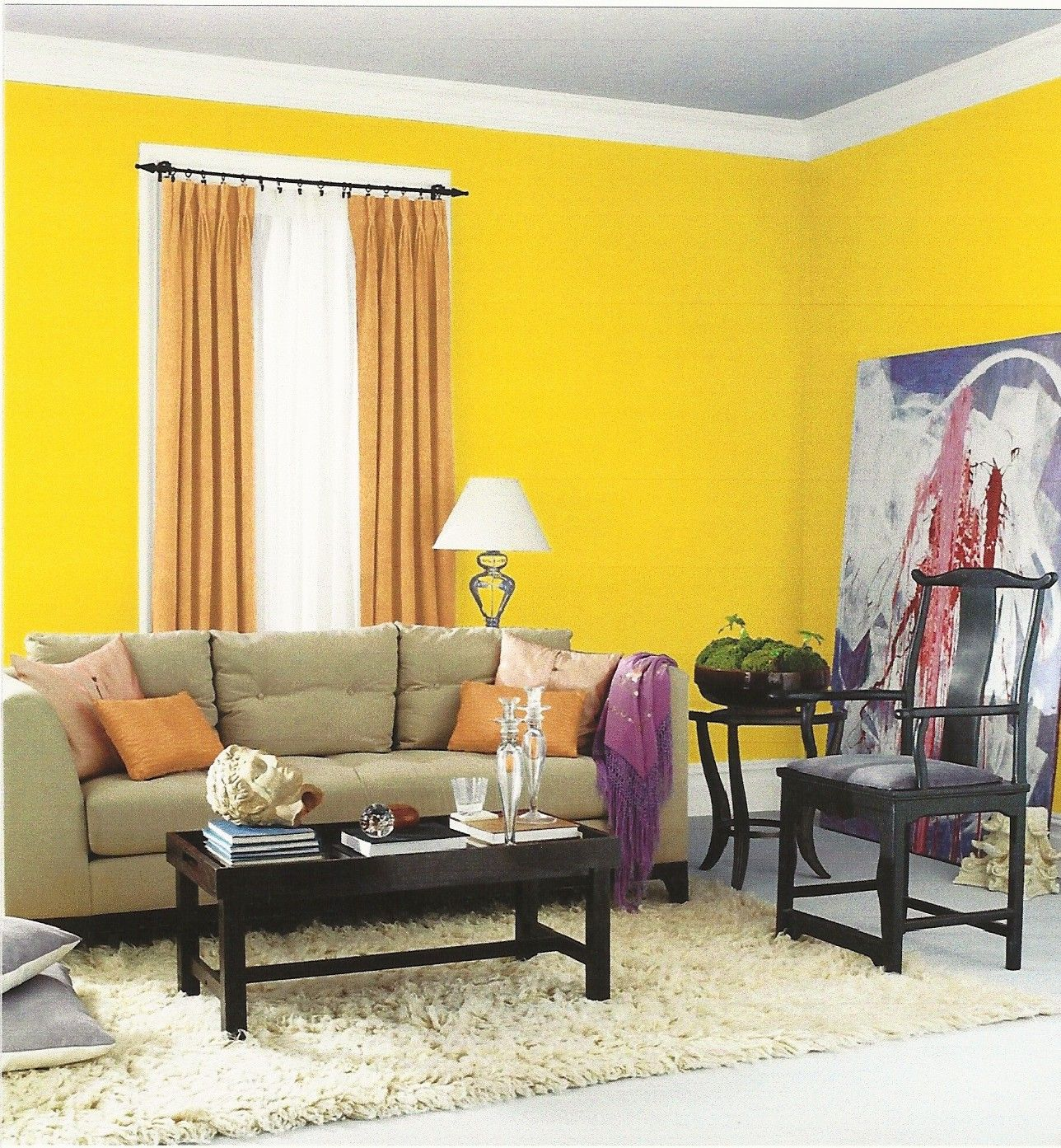 Interior Designs, Beautiful Small Space Yellow Paint Color For ...