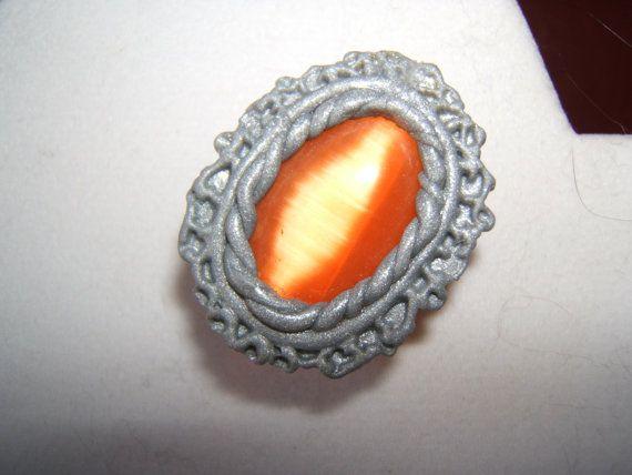 Orange Moonstone Brooch