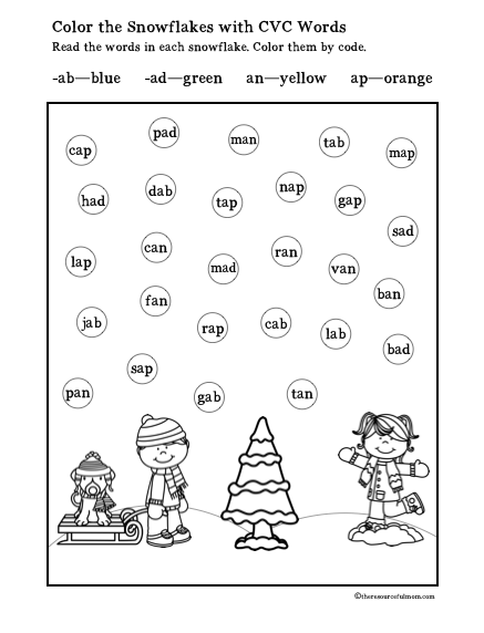 Free Printable Color the Snowflakes Short Vowel A CVC Words | Kid ...