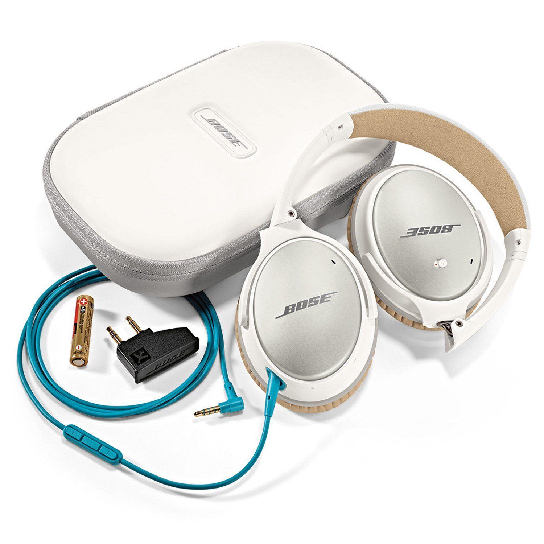 Amazon Com Bose Quietcomfort 25 Acoustic Noise Cancelling Headphones Apple Devices White E Noise Cancelling Headphones White Headphones Wired Headphones