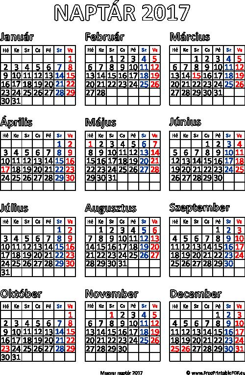 011bcc5f77 Magyar naptár 2017 Nyomtatható Tervező, Planner Stickers, Ingyenes  Nyomtatható Dolgok, Ingyenes Nyomtatható Naptár