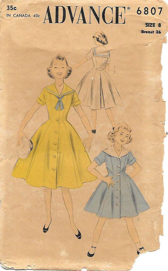 Size 8 Advance 6807 1950s Girls Princess Seam Sailor Dress Vintage ...