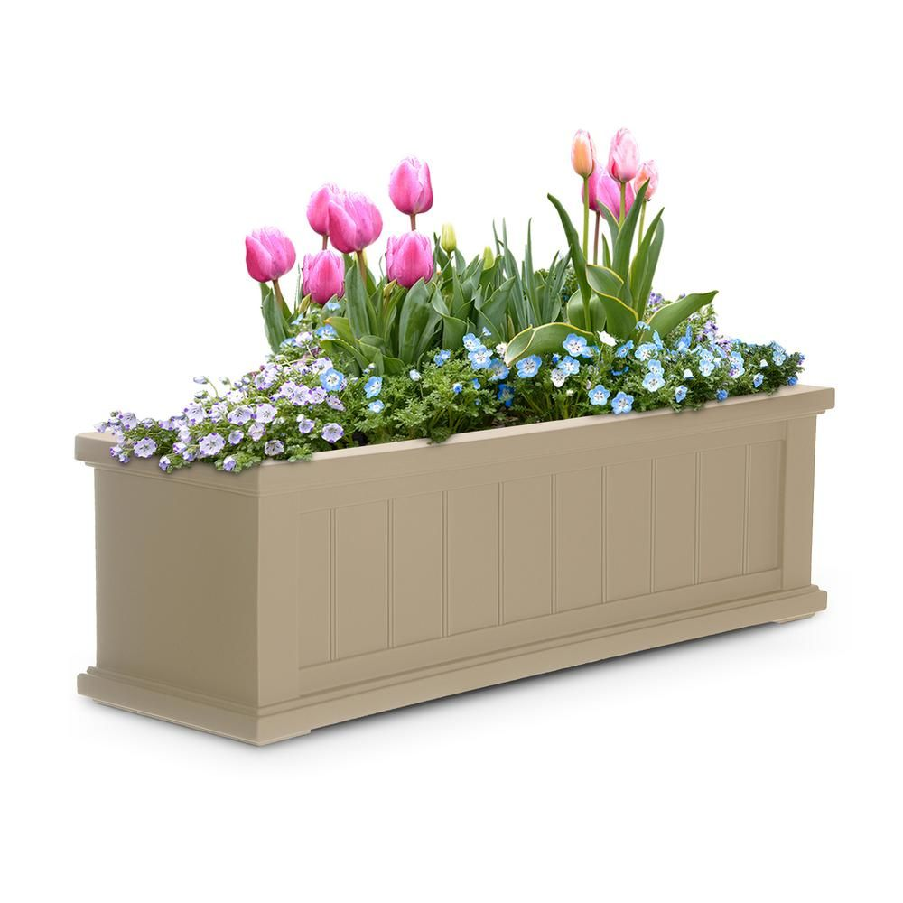 Mayne Self Watering 11 In X 36 In Clay Cape Cod Window Box Window Planter Boxes Window Box Flowers Planter Boxes