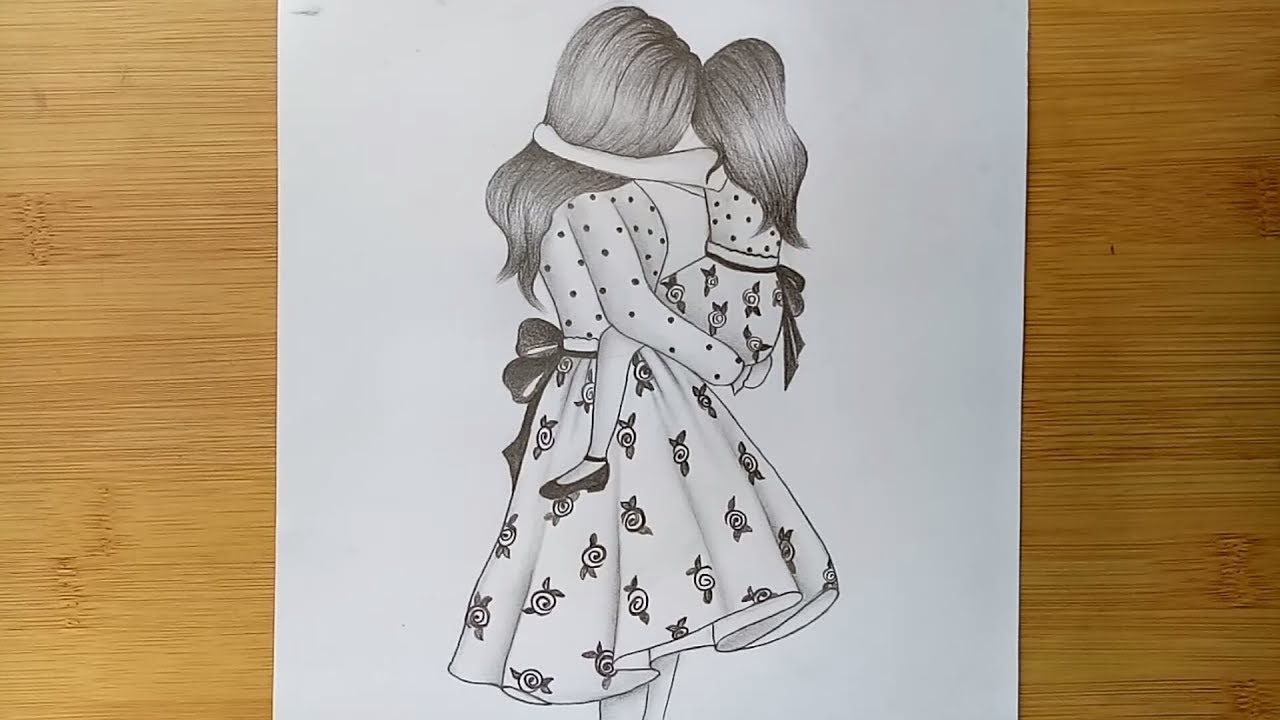 Mothers Day Drawing of pencil sketch step by step ...