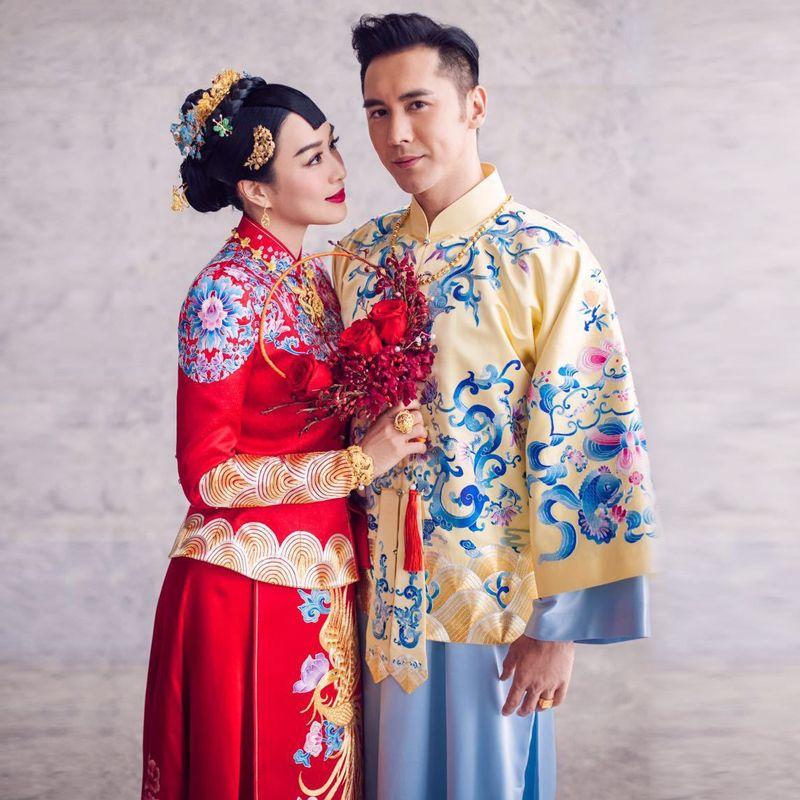 Red Phoenix Embroidery Dress Bride Wedding Cheongsam Oriental ...