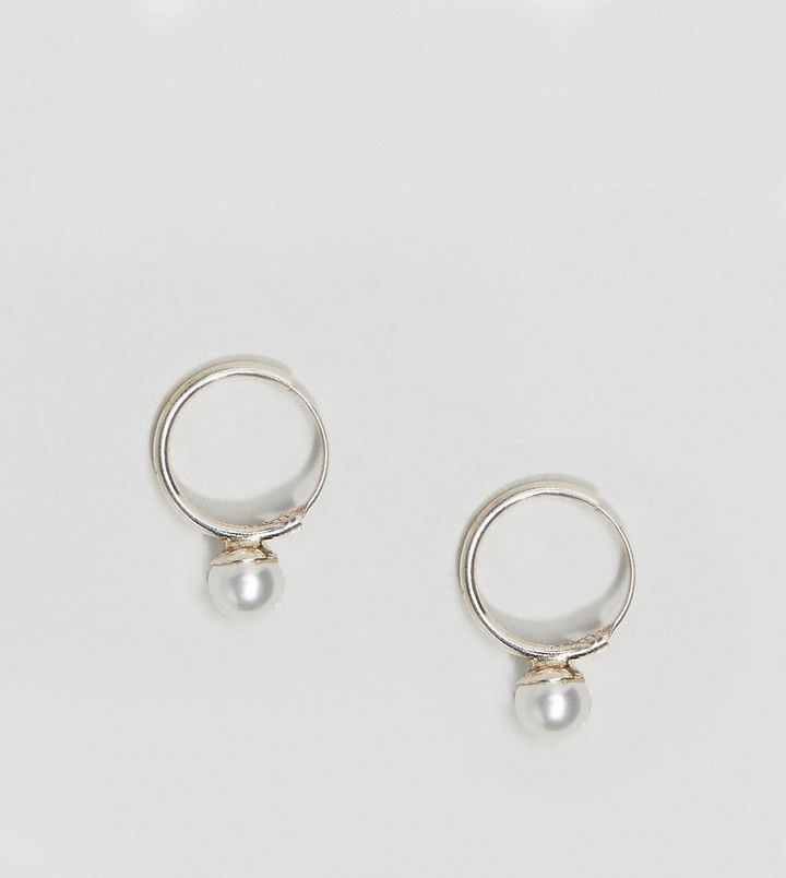 Kingsley Ryan Sterling Silver Pearl Drop Hoop Earrings