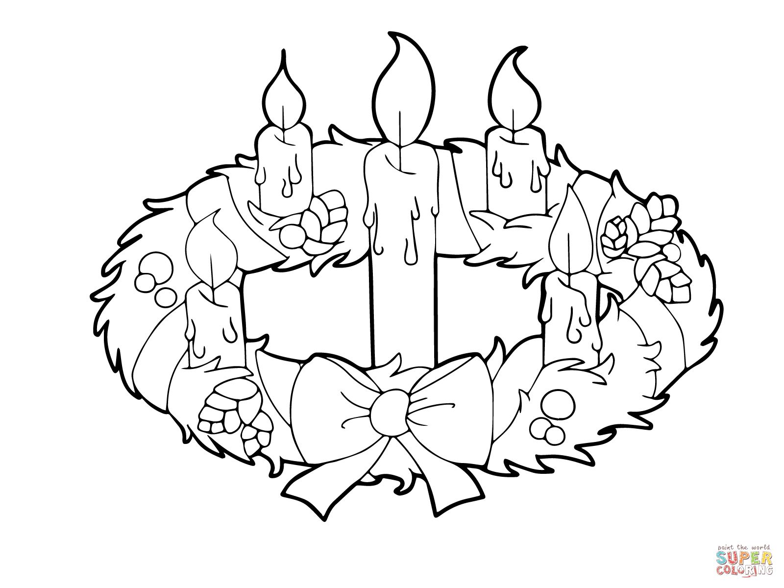Advent Wreath and Candles Coloring page Free Printable