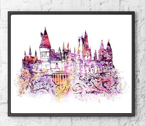 Hogwarts Castle Watercolor, Harry Potter Art, Movie Poster, Kids Room Decor…