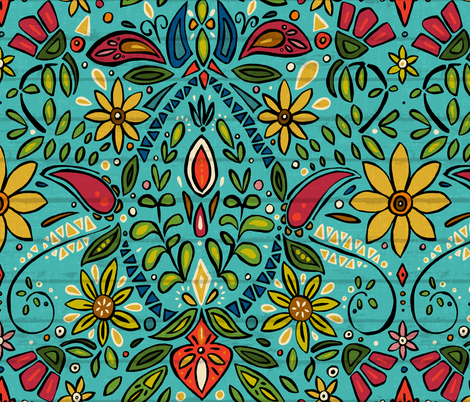 Aziza Turquoise Fabric By Scrummy On Spoonflower Custom Fabric