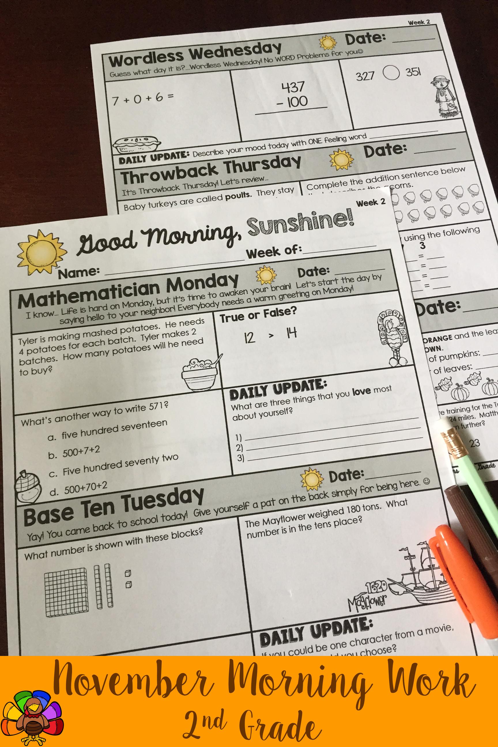 Morning Work 2nd Grade {November} | Pinterest | Morning work, Math ...