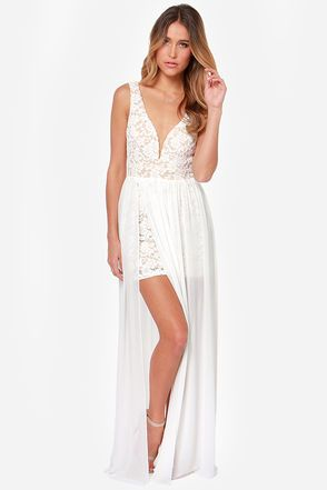 d55b1f185d53 Neckline is too low but I love this otherwise! Make Way for Wonderful Ivory  Lace Maxi Dress at Lulus.com!