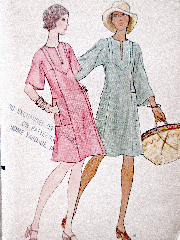 Vintage Vogue 8822 Sewing Pattern, 1970s Dress Pattern, Caftan Dress ...