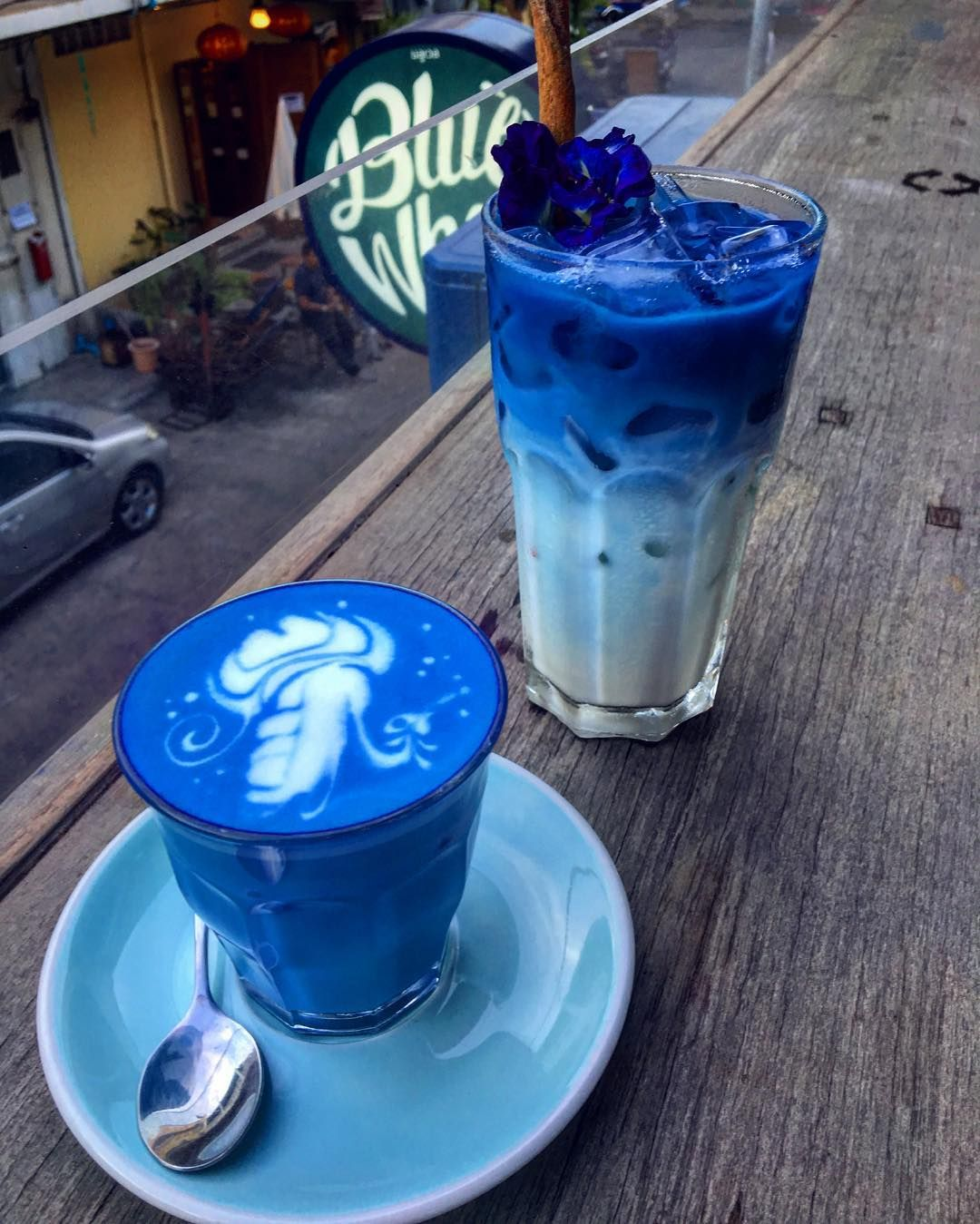 Butterfly Pea Latte At Blue Whale Cafe In Bangkok