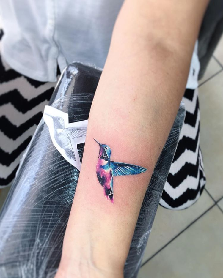 Bri Ab Tattoo Tatuaje Colibri Galaxy Picaflor Bird Space
