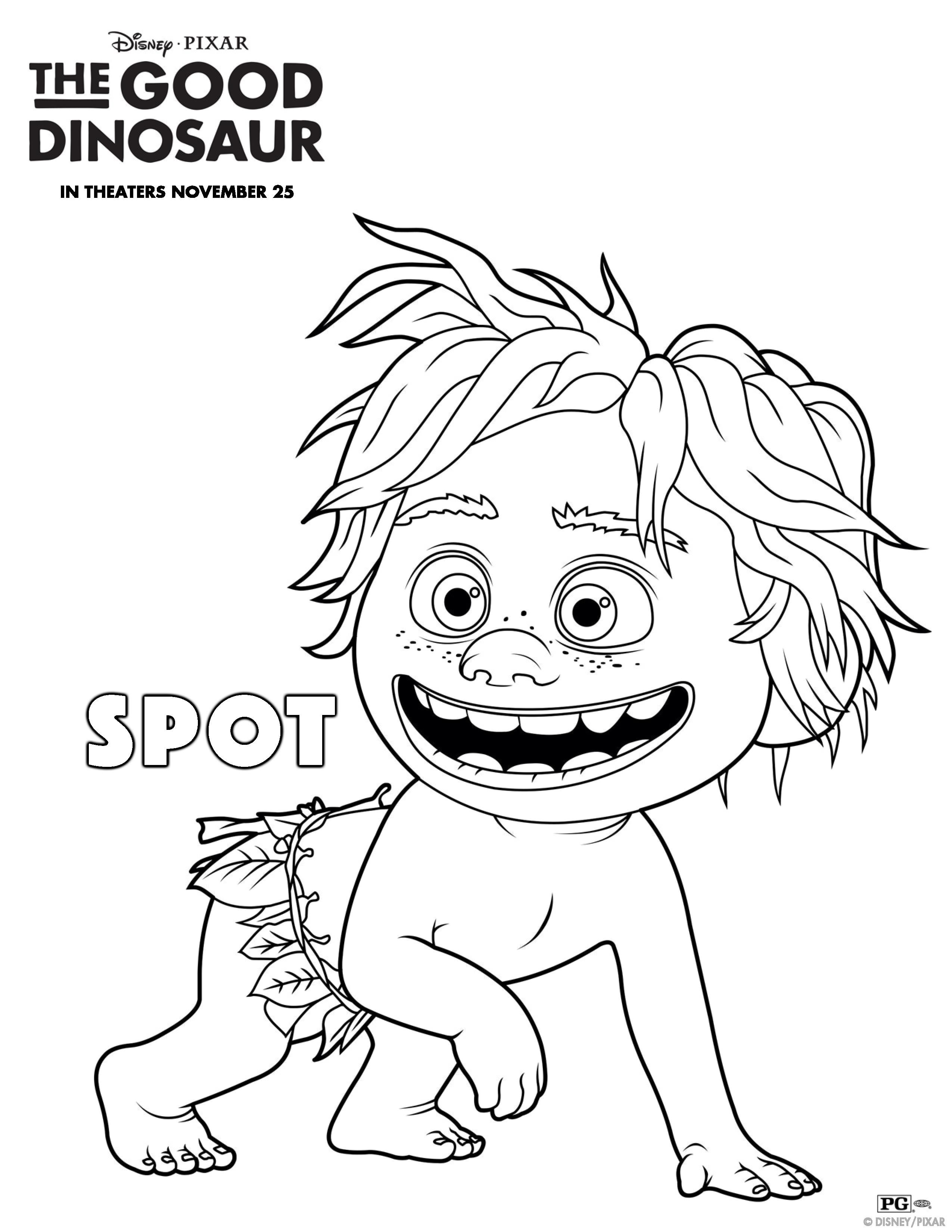 Cartoon dinosaur coloring pages free - The Good Dinosaur Spot Coloring Page