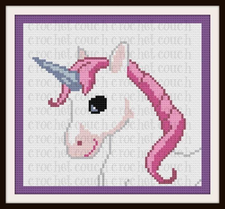 Unicorn Afghan, Crochet Pattern, C2C Graph | Craftsy | Punto de cruz ...