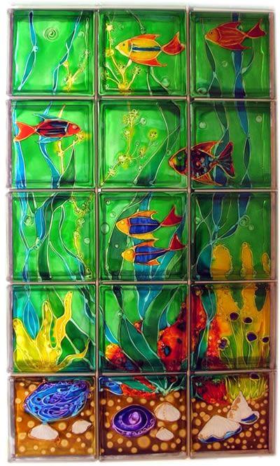 Painted Glass Blocks Glass Blocks Walls Underwater World Glass Blocks Wall Painting On Glass Windows Painted Glass Blocks