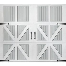 Pella 96 In X 84 In Insulated True White Gray Single Garage Door Lowes Com Garage Door Styles Single Garage Door Garage Door Windows
