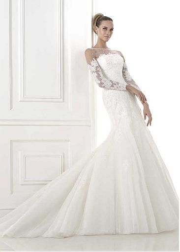 Charming Tulle Mermaid Illusion Bateau Neckline Natural Waistline Wedding Dress