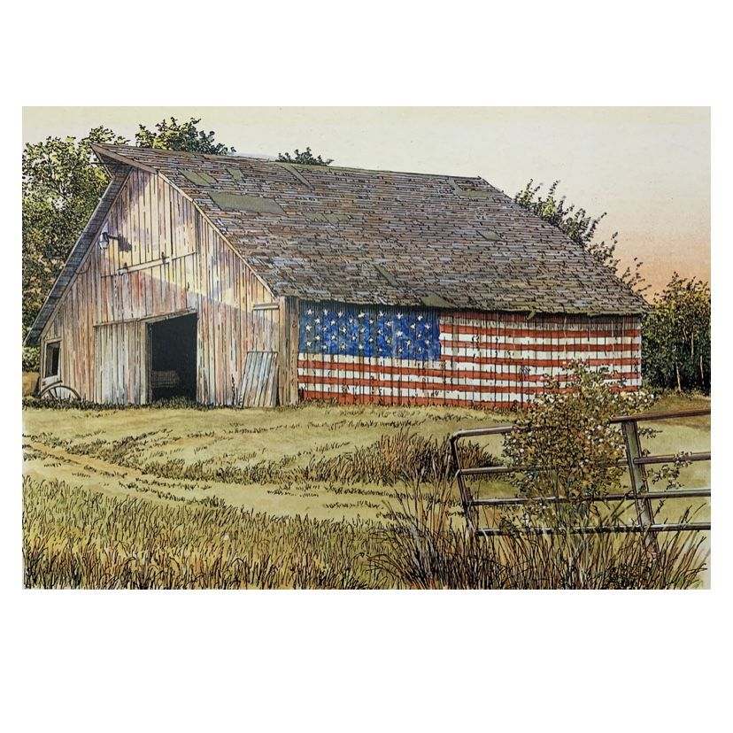 America flags show up all over the United States on barns. Rural America shows it patriotism.  #americanstyle #americanpride #americanpatriot #barnstyle #rurallife