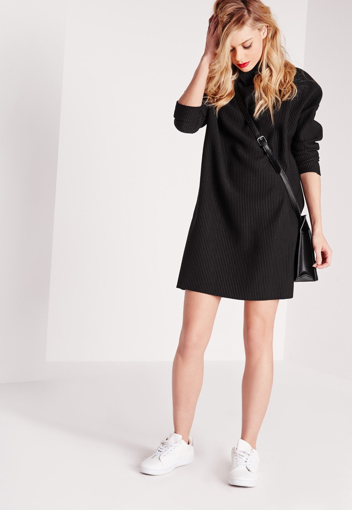 Long sleeve high neck ribbed shift dress black missguided beauty