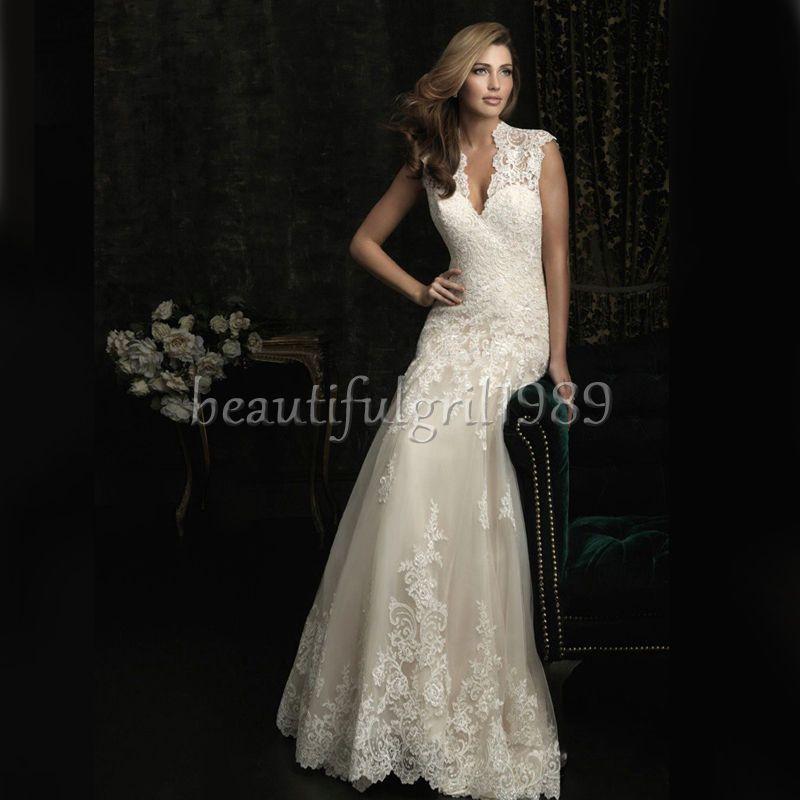 Nueva Sexy De Encaje Blanco Largo Princess Boda nupcial vestido vestido de novia #d 107