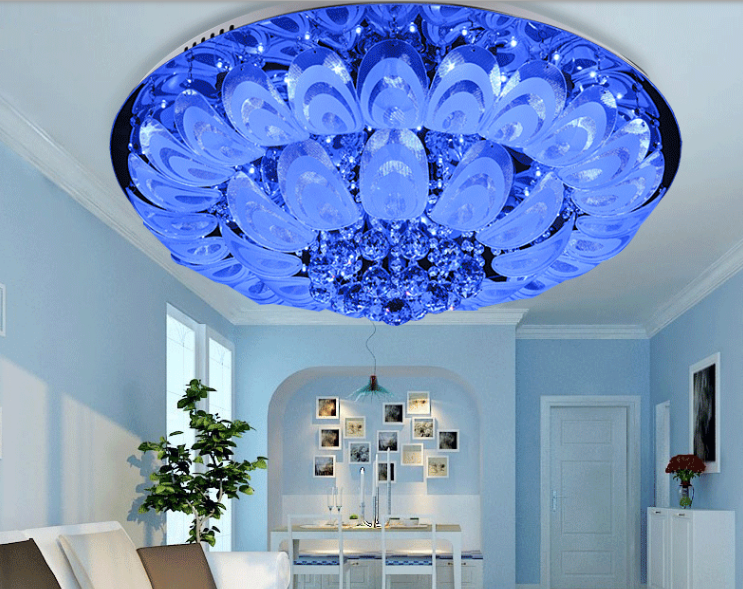 Led Round Crystal Simple Pea Discoloration Living Room