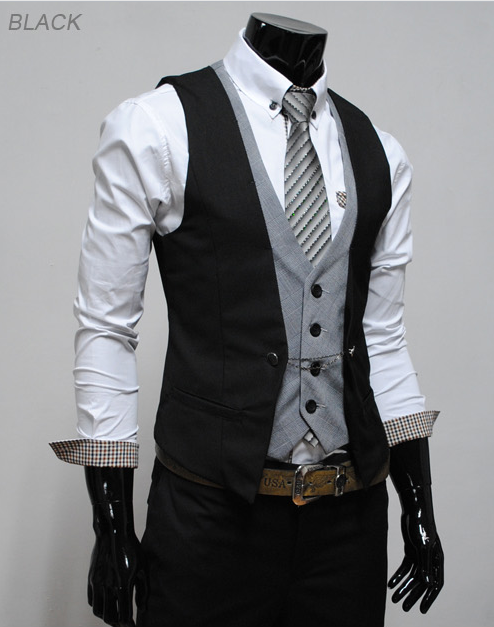 Coolred-Men Goth Metal Chain Open Front Satin Sequin Tuxedo Suit