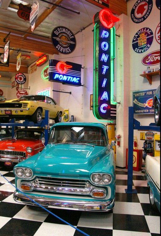garage neon signs workshop dream retro porcelain discover