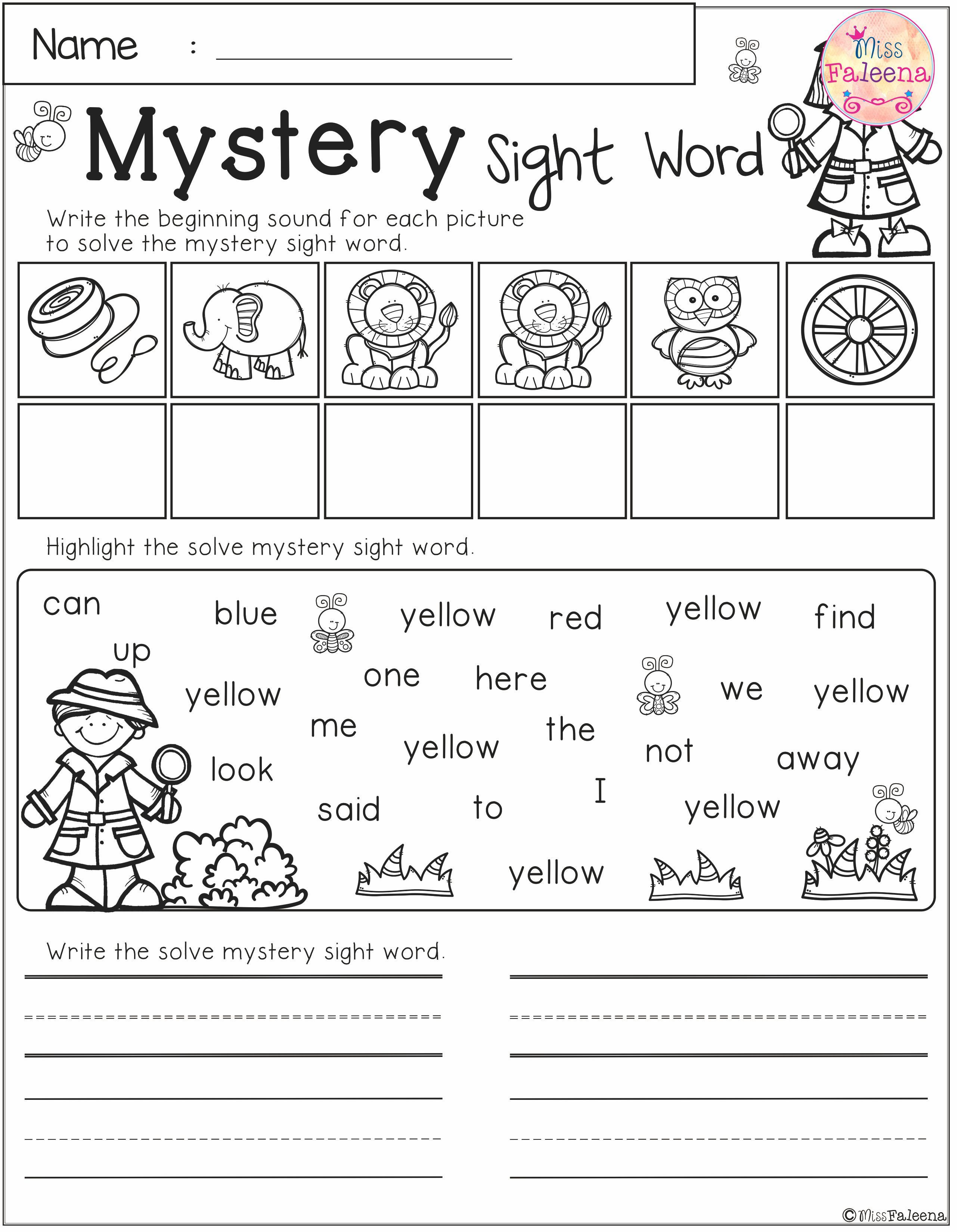 Mystery Sight Word Practice Pre Primer