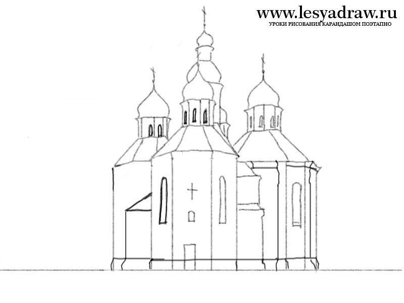 Церковь рисунок карандашом для начинающих поэтапно 98