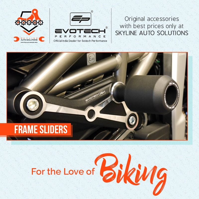 Get all the original and best technical accessories such as Frame Sliders, Swingarm Spools, Fork Protector, Radiator Guard, Tail Tidy, Levers fromEvotech Performance only at Skyline Auto Solutions. #Skyline #SkylineAuto #SkylineAutoSolutions #bikeservicing #motorbikeservicing #servicecentre #bikeshop #loveforride #loveforbike