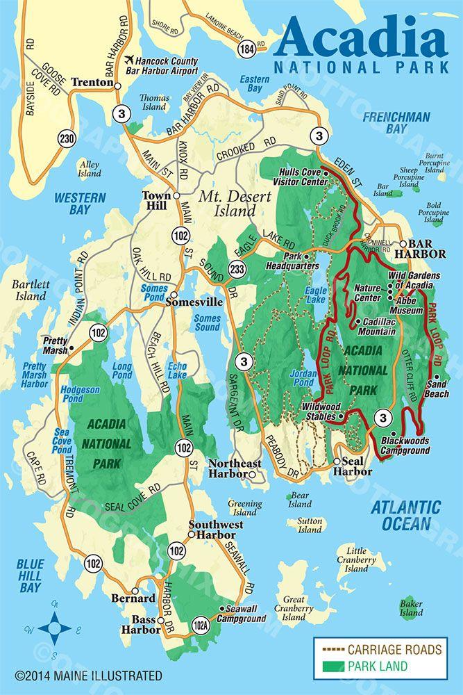 Acadia National Park Map CartographyMap Examples Pinterest - Acadia national park on the map of the us