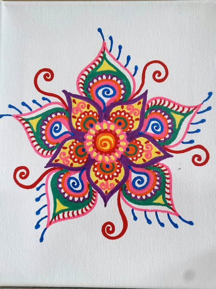 Colorful Henna Designs: I Painted One Of My Henna Flower Designs With Acrylic On