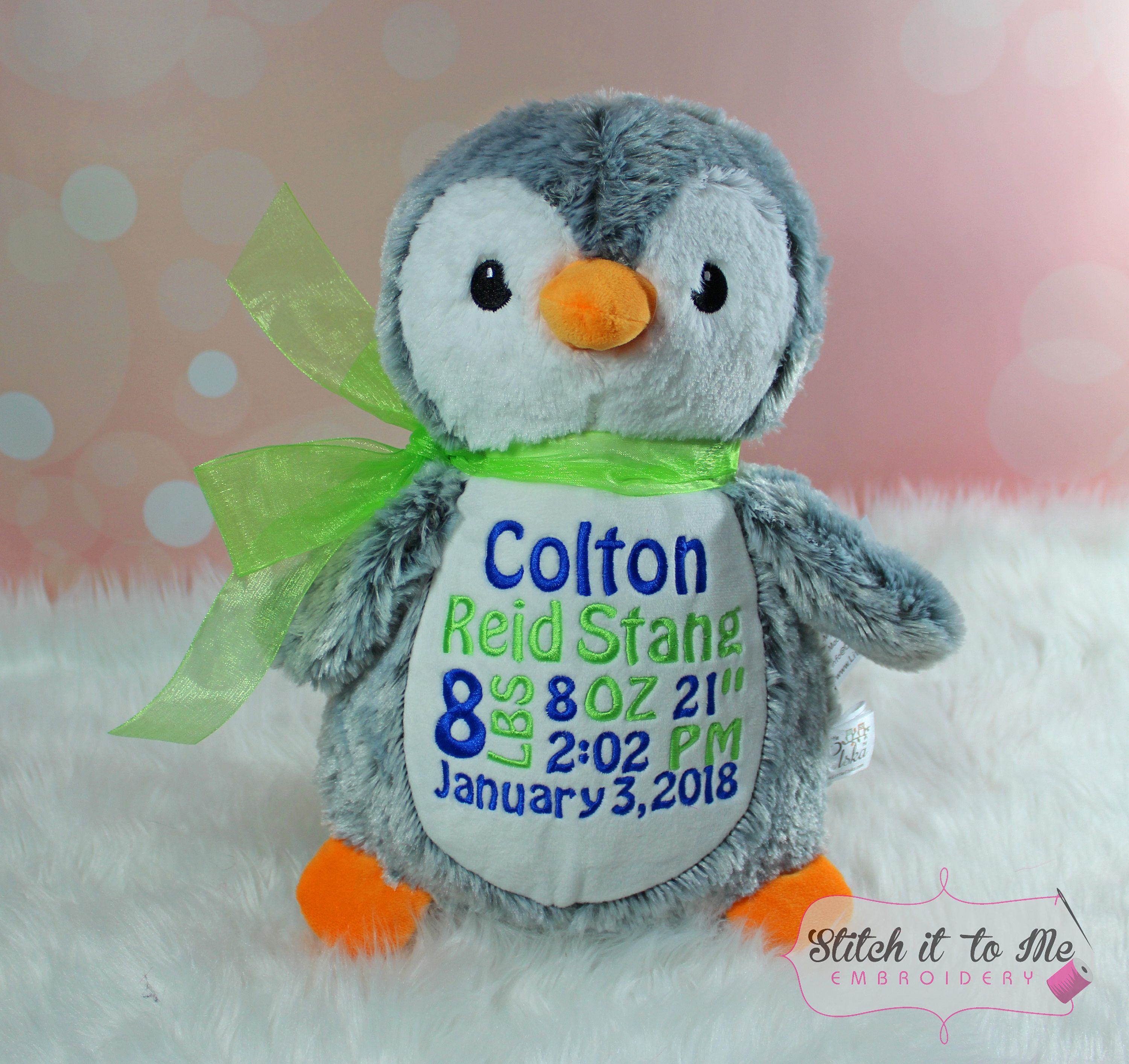 Embroidered Penguin Stuffed Penguin Personalized Penguin Birth