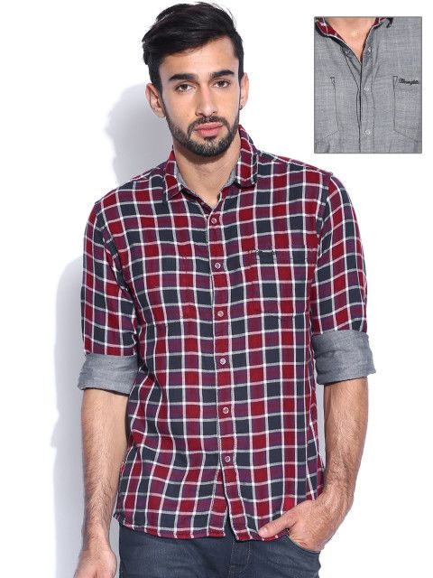 ab42a85f86c Wrangler Maroon   Grey Reversible Cotton Checked Shirt  CheckedShirt ...