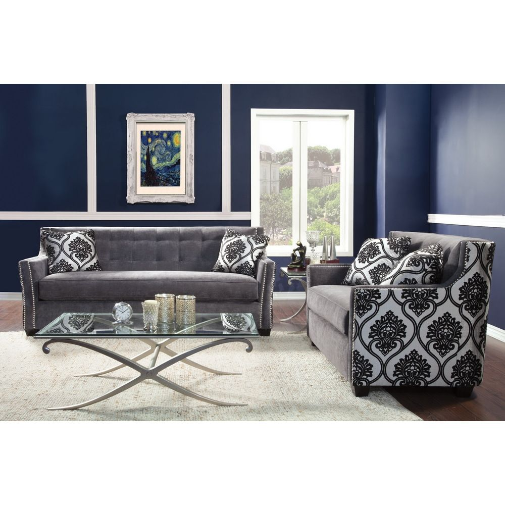 Overstock Living Room Sets Furniture Of America Fedrix 2 Piece Damask Fabric Tufted Sofa And