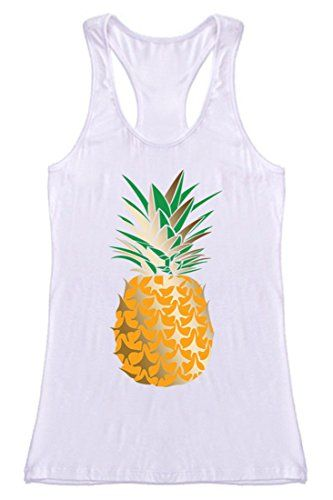 b1477d9edde57 NioBe Womens Beach Gym Yoga Workout Casual Graphic Tank Top Small Pineapple  White   Check out this great product.Note It is affiliate link to Amazon.
