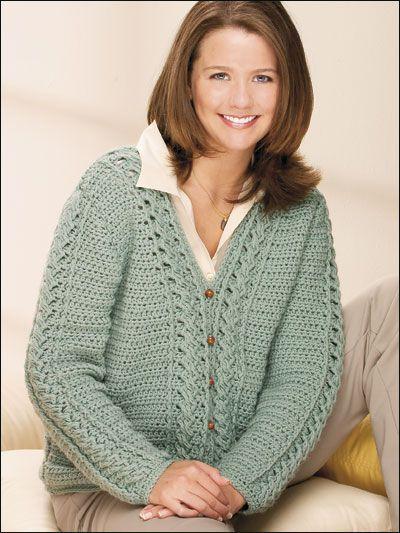 043184b1c1cf3 Sea Spray Cabled Cardigan. Popular crochet womens sweater pattern sea spray  cabled cardigan – darla sims  free ...