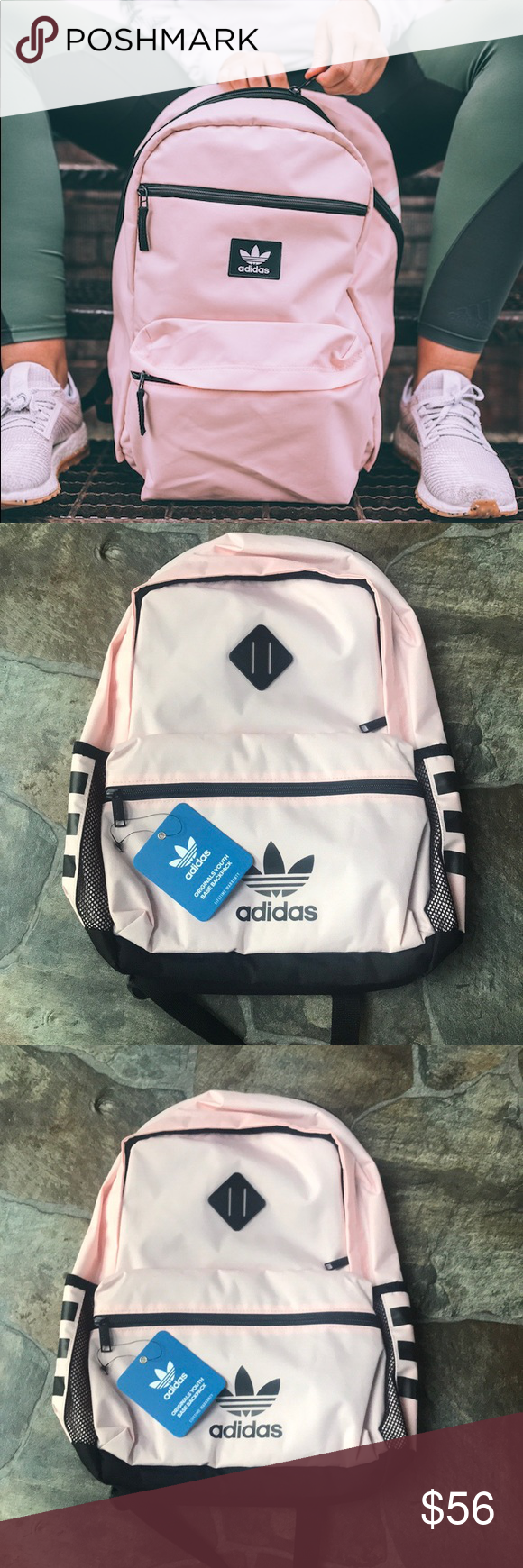 b36ee95e5554 Adidas Originals Base Backpack PINK School Bookbag ❌BESTSELLER❌ THIS WILL  SELL QUICK❌ Adidas Originals Youth Base Backpack Black White Unixex School  ...