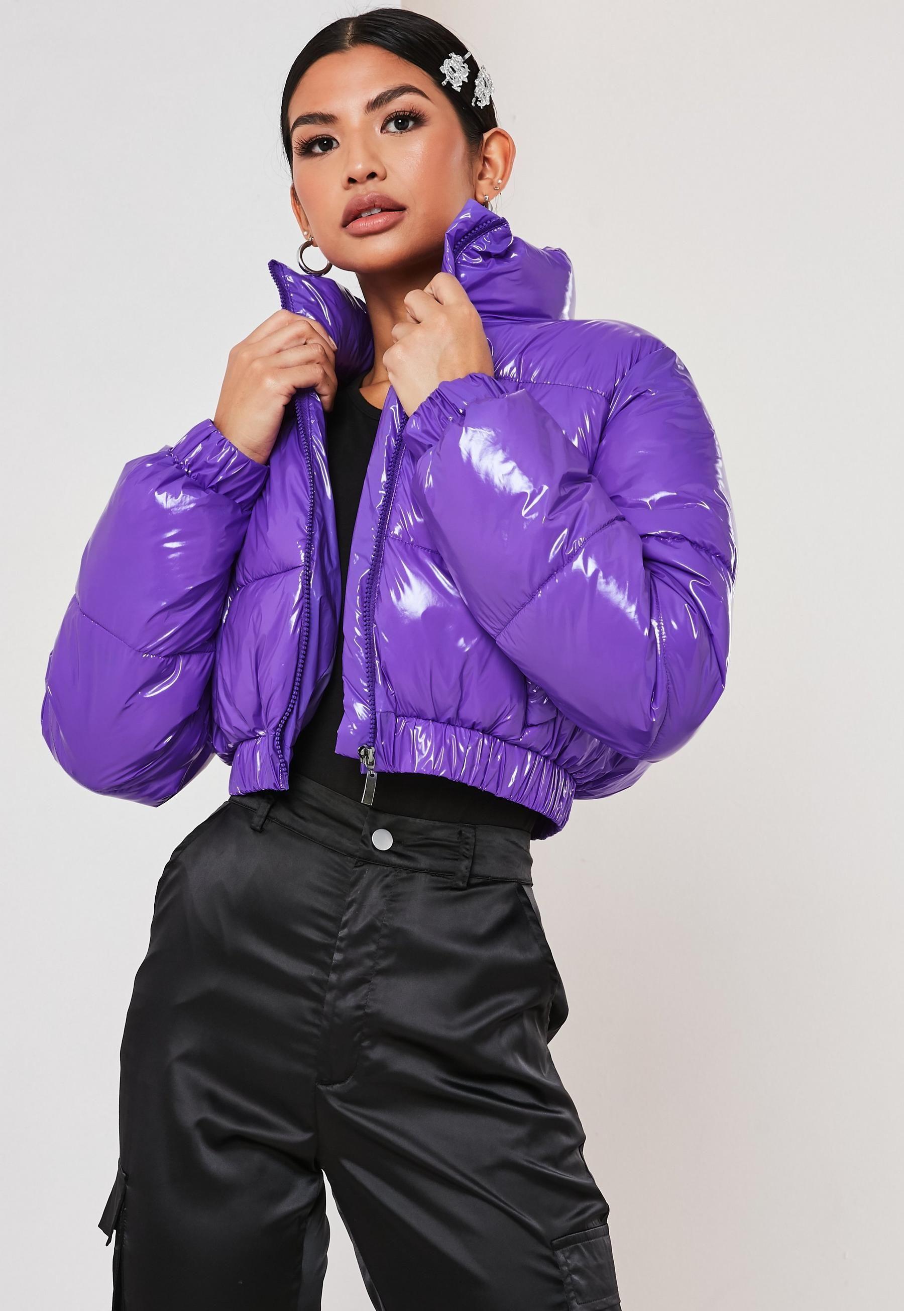 Grey High Shine PU Vinyl Cropped Puffer Jacket | LexiFashion