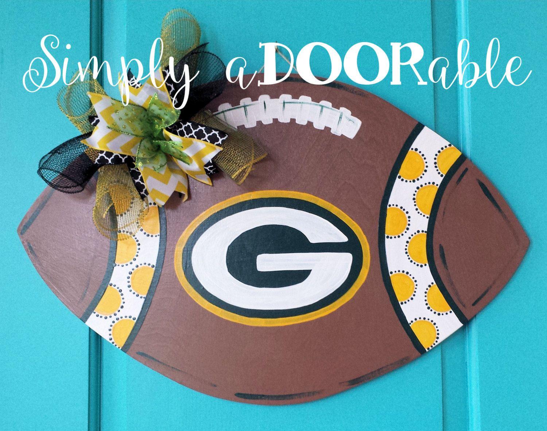Green Bay Packers Football Wood Door Hanger This Packers Etsy Green Bay Packers Crafts Wood Door Hangers Football Door Hangers