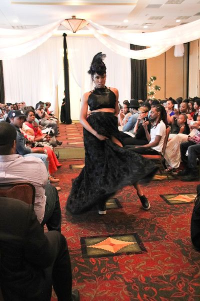 Beauty and Brains Fashion Show Nashville, TN - TwoSistersPhoto Jan King Designs Black Rose Skirt and Halter top with feather headpiece. 2016 Jan King Designs. and Brains - TwoSistersPhoto