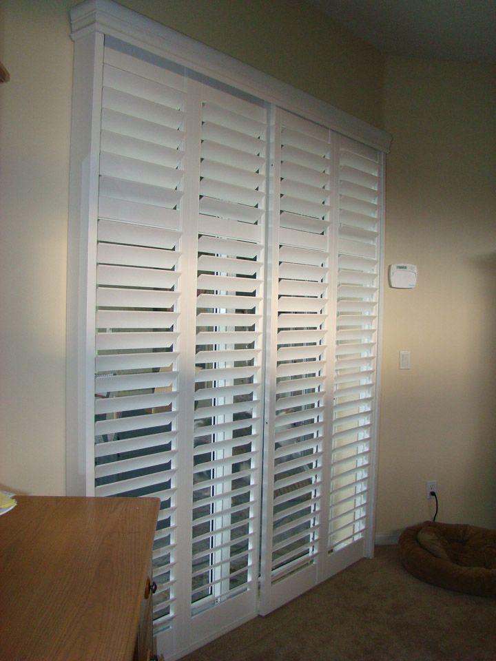 white plantation shutters for sliding glass patio doors from rockwood shutters